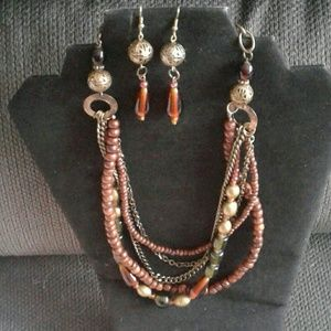 Multi strand wood glass bead necklace earring set